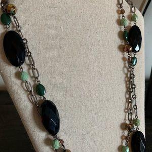 Lia Sophia Black & Green Long Beaded Necklace